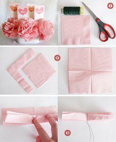 tutorials, pom poms, napkins, tissue paper flowers, craft idea, papers, flower tutorial, tissue flowers, parti