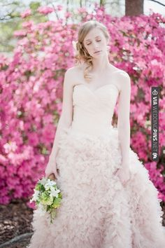 Blush Pink Ruffly Palm Springs Wedding Dress By Watters | CHECK OUT MORE IDEAS AT WEDDINGPINS.NET | #weddings #weddingdress #inspirational