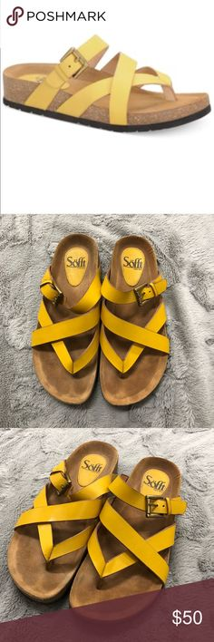 Sofft Sandals Super comfy sandals with yellow straps. Only worn once for a few hours. Like new! Cushioned footbed for extra comfort & all natural leather. Beautiful shade of yellow perfect for spring & summer! Sofft Shoes Sandals