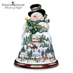 thomas-kinkade-musical-snowman-snow-globe