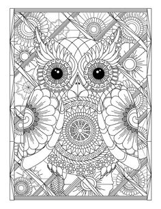 Owl and Flowers Advanced Adult #ColoringPage by LeeTowleDesigns. #adultcoloring #coloring #printablecoloring #advancedcoloring #owls #flowers #mandalas #coloringpages