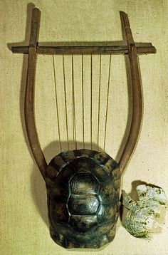 hellas-inhabitants:Lyre restored from remains.Have been found in Athens Greece, and it'sprobably 5th or 4th century BC.The lyre was a stringed instrument plucked with the fingers or a plectrum. The tortoise shell served as a sound box. The strings stretched over a bridge and were held in tension by a cross-piece supported on two projecting arms. Elgin Collection,British Museum.Λύρα αποκατεστημένη από υπολείμματα Έχει βρεθεί στην Αθήνα, και είναι πιθανόν του 5ου ή 4ου αιώνα π.Χ.. Η λύρα ήταν…
