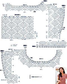 Схема вязания ажурной блузы узором Веерочки