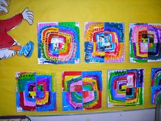 2nd cooperative concentric square projects! combo of xerox of music notes 4 corners and center pt cut paper maybe alo use marker op and stamping  http://kids-finelines.blogspot.com/2012/02/cooperative-squares.html
