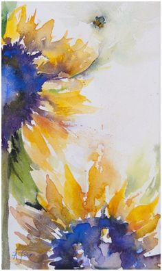 Brilliance: sunflower study | Angela Fehr, watercolour | followpics.co