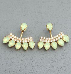 Ear Jacket Earrings Mint Opal Crystal Mint Green  by iloniti