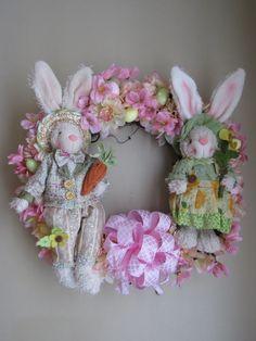 Easter Wreath Spring Wreath Easter Door Wreath by WaukeeCreations