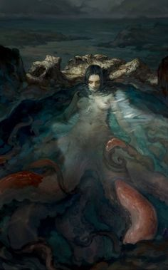 octopus lady by log hSpectrum The Best in Contemporary Fantastic Art Magical Creatures, Fantasy Creatures, Sea Creatures, Siren Mermaid, Mermaid Art, Octopus Mermaid, Sea Siren, Octopus Art, Le Kraken