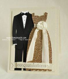 Classy congrats card with champagne glimmer dress