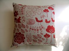red forest cushion cover