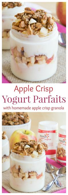 Apple Crisp Yogurt Parfaits with Homemade Apple Crisp Granola recipe.  For a wholesome gluten free snack choice with all the flavors of the season that tastes like one of everybody's favorite fall desserts. Get ready to dig your spoon in!
