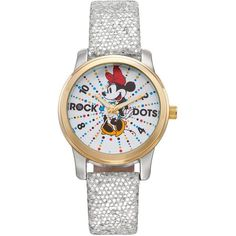 """Disney's Minnie Mouse """"Rock the Dots"""" Women's Leather Watch ($50) ❤ liked on Polyvore featuring jewelry, watches, grey, rock watches, disney, white face watches, rock jewelry and disney watches"""