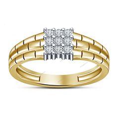 0.67 CT Round Sim. Diamond Yellow Gold FN 925 Silver Nine Stone Men's Band Ring…