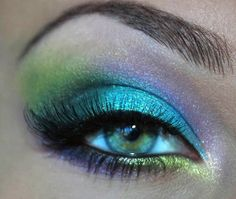 Turquoise and lime green eyeshadow  #bright #bold #eye #makeup #eyes
