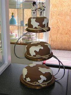 A cow themed wedding cake!
