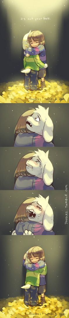 Frisk and Asriel - http://joodlez.tumblr.com/post/133891475797/comfort-do-not-patreon-shop