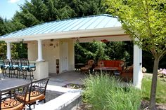 Patio with Pool House and Outdoor Kitchen