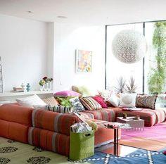 51 Amazing Bohemian Living Room Designs : 51 Bohemian Living Room Designs With White Walls Orange Sofa Colorful Pillow Carpet Table Window Chandelier
