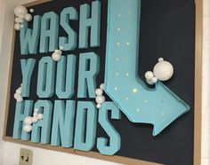 Wash Your Hands bulletin board with 3D letters bubbles and lights. School Nurse