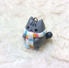 Pusheen cat winter time handmade polymer clay cute by Baboolyn