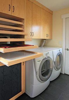 laundry room, sweater drying racks