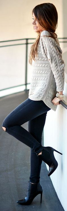 #fall #fashion / gray knit + denim
