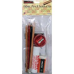 Trial Run at Marking for Whitework. Fabric Pencil Survival Kit from General's Art Supply.