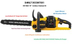 """Top Power Tools Review: DeWalt FlexVolt 60V MAX 16"""" Cordless Chainsaw Cordless Chainsaw, Old Technology, Cordless Tools, Lead Acid Battery, Generators, Power Tools, Outdoor Power Equipment, Charger, Old Things"""
