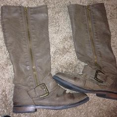 Brown grey fall boots Great condition brown grey boots, price negotiable and more pics available Shoes Combat & Moto Boots
