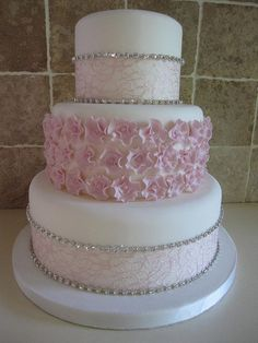 Dummy cake with lace ribbon and diamante and sugar ruffles. Beautiful Wedding Cakes, Gorgeous Cakes, Pretty Cakes, Amazing Cakes, Bling Cakes, Fancy Cakes, Fondant Cakes, Cupcake Cakes, Dummy Cake