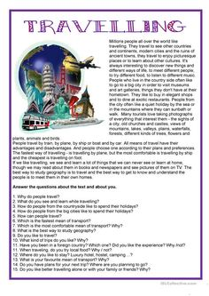 Tourisme - Travelling worksheet - Free ESL printable worksheets made by teachers Informations About Tourisme - Travelling worksheet - Free ESL printable worksheets made by teachers Pin You can easily Teaching English Grammar, English Grammar Worksheets, Reading Worksheets, English Language Learning, English Vocabulary, Printable Worksheets, German Language, Preschool Worksheets, Japanese Language