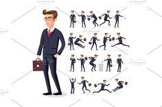 set businessman in dark suit vector by Rommeo79 on @creativemarket