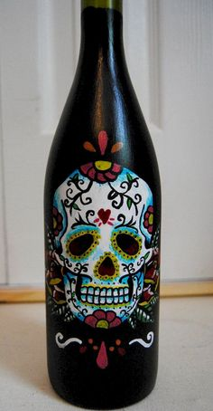 Sugar Skull Painting on Wine Bottle/ Candle Holder/ Vase on Wanelo Más Wine Bottle Candle Holder, Wine Bottle Art, Painted Wine Bottles, Diy Bottle, Painted Wine Glasses, Wine Bottle Crafts, Decorated Bottles, Bottle Lamps, Candle Holders