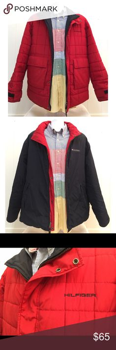 Tommy Hilfiger reversible puffer jacket men's XL Tommy Hilfiger reversible puffer jacket, pre owned, EUC, men's size XL, clean, all zippers and buttons in perfect working order, embellished Tommy Hilfiger logos, big pockets Tommy Hilfiger Jackets & Coats Puffers