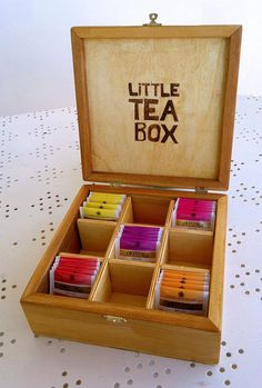 9 holder box for the tea, and having the text on the lid Wooden Tea Box, Tea Holder, Bento, Pallet Barn, Tea Storage, Tea Gifts, My Tea, Wood Boxes, Box Design
