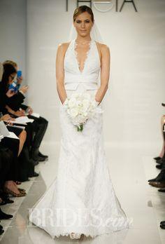 "Brides.com: Theia - Fall 2014. ""Bridgette"" Alencon lace wedding dress with duchess satin Obi band"