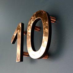 "Modern Custom 4"" high floating House numbers in Antigoni, copper facing…"