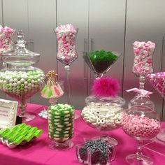 #pink #pinkandgreen #candy #candybar #candytable #candybarcouture #candybuffet #batmitzvah... pinned with Pinvolve
