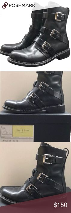 RAG & BONE Black Hudson Boots, US Size 6 Cleaning out my closet to make room for something new. Pre-owned great condition, with box. One owner. Pictures are of the actual product you will receive. If you have a question, please ask. Hoping that these can find a nice home =) rag & bone Shoes Combat & Moto Boots