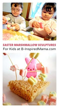 Marshmallow Sculptures #Easter Craft at B-Inspired Mama