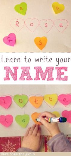 Learn To Write Your Name with Hearts! (pinned by Super Simple Songs: http://www.pinterest.com/simplesongs/) #educational #resources
