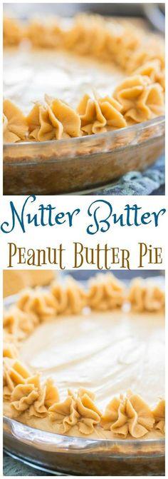 Nutter Butter No-Bake Peanut Butter Pie recipe – The Gold Lining Girl Nutter Butter Peanut Butter Pie pin 2 Peanut Butter Pie Recipe No Bake, Nutter Butter Cookies, Peanut Butter Desserts, Köstliche Desserts, Delicious Desserts, Dessert Recipes, Yummy Food, Pie Recipes, Peanut Butter Cream Pie