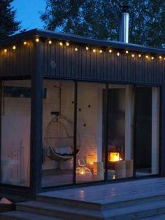 Pihasauna, ulkosauna & oleskelutila pihalla - Huone1 Outdoor Sauna, Outdoor Decor, Garage Doors, Shed, Tiny Houses, Garden, Container, Inspiration, Home Decor