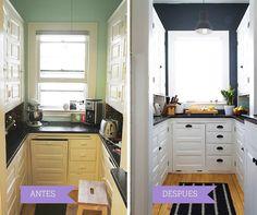 Antes y después de la reforma de una cocina