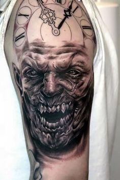 Tattoo Horror Face with dial  - http://tattootodesign.com/tattoo-horror-face-with-dial/     #Tattoo, #Tattooed, #Tattoos