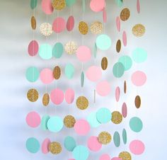 Garland, Paper Garland in Blush, Mint and Gold, Bridal Shower, Baby Shower…