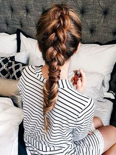chunky braid with fishtail at end