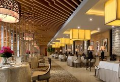 Restaurant hall interior Chinese lamps rendering