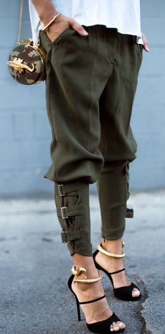 Buckled-Hem Army Green Harem Pants. Love the pants and heals.
