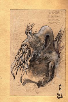 cthulhu sketch by fiend-upon-my-back.deviantart.com on @DeviantArt Quick Sketch, Kraken, Cthulhu, Moose Art, Horror, Deviantart, Gallery, Animals, Animales